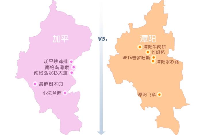 (左)加平晨静树木园, (右) 潭阳竹绿苑