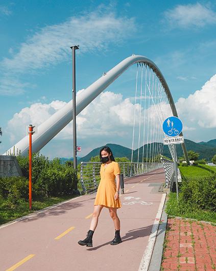 Chemin de promenade en bordure de fleuve / Pont du ferry