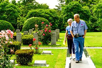 Photo: Visitors to the UN Memorial Cemetery