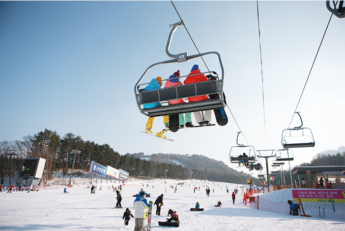 Ski resort lift (top), ski equipment and pose (bottom)