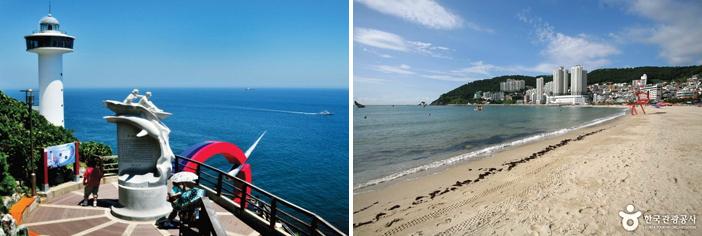 太宗台(写真・韓国観光公社)と松島海水浴場(提供:韓国文化観光研究院)