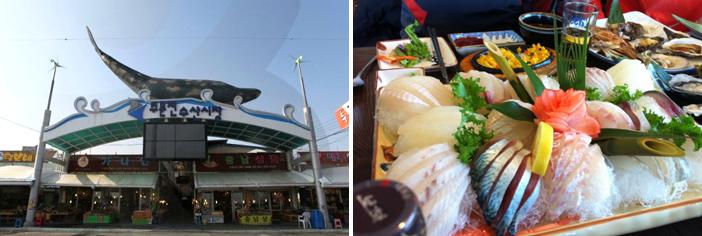 注文津水産市場(写真:韓国観光公社)と注文津港で水揚された天然物の刺身(提供:注文津刺身店テラスJ)