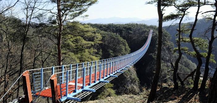 原州小金山つり橋(提供:原州市観光課)とミュージアムSAN(写真:韓国観光公社)