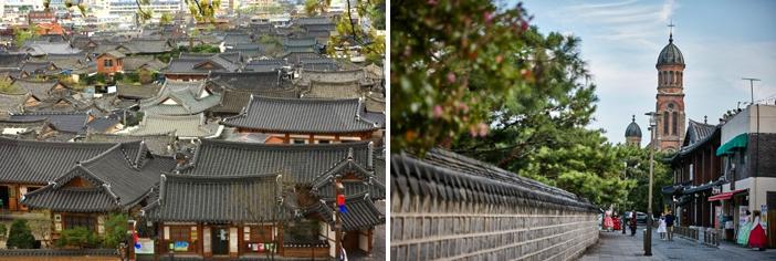 全州韓屋村全景(写真:韓国観光公社)と全州殿堂聖堂(提供:韓国文化情報院)