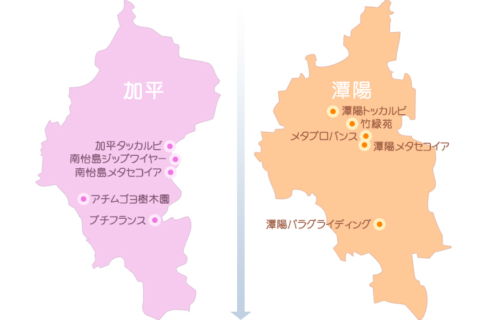 加平・アチムゴヨ樹木園(左)、潭陽・竹緑苑(右)