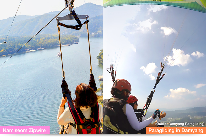 Paragliding in Damyang (links, Quelle: Damyang Paragliding), Namiseom Zipwire (rechts)
