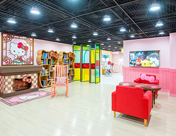 Sala de exhibición en Hello Kitty Island.