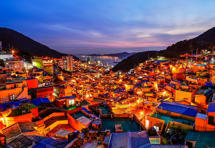 Nightscape of Gamcheon Culture Village