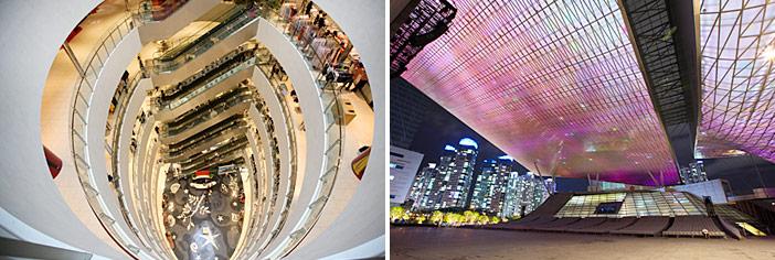Landscape of Centum City (top), Shinsegae Centum City & Busan Cinema Center (bottom)
