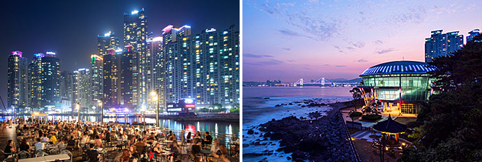 Nightscapes of Marine City (top), The Bay 101 (bottom left) & Dongbaekseom Island's Nurimaru APEC House (bottom right)