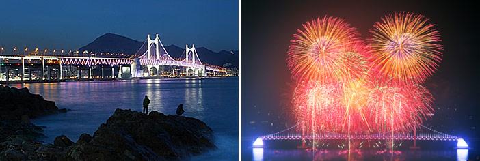 広安大橋の華麗な夜景と花火