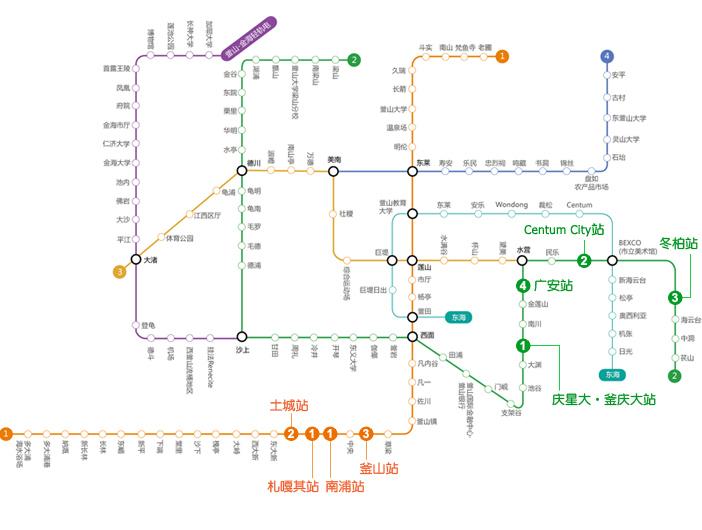 乘地铁出发的釜山一日游地图