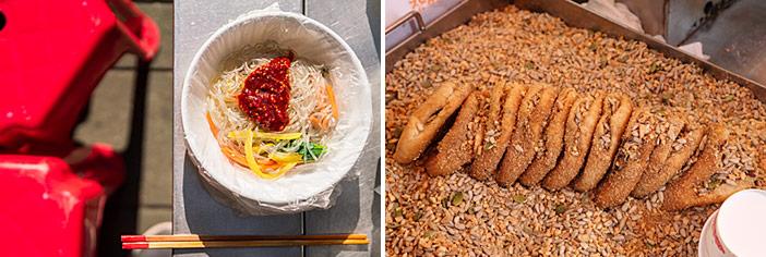 Yubu pockets (top), bibim dangmyeon & ssiat hotteok (bottom)