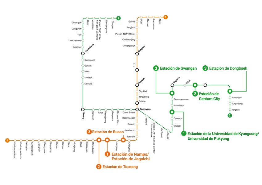 Mapa para el recorrido por la ciudad en metro