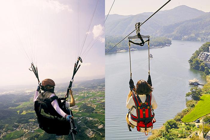 Damyang Paragliding (left) (Credit: Damyang Paragliding) / Namiseom Island Zipwire (right)