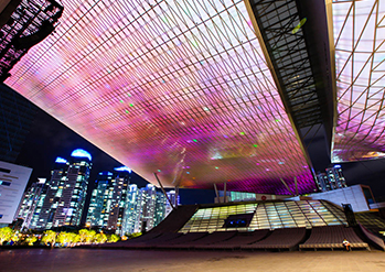 Photo: Night view of Busan Cinema Center
