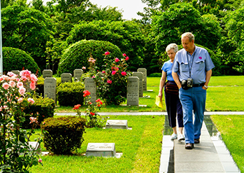 Photo: Visitors to the UN Memorial Cemetery