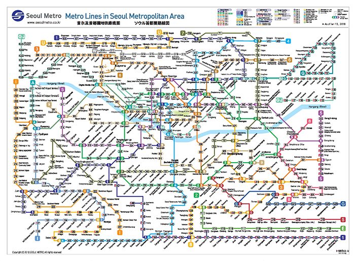 Official Site of Korea Tourism Org : Transportation : Seoul Subway map