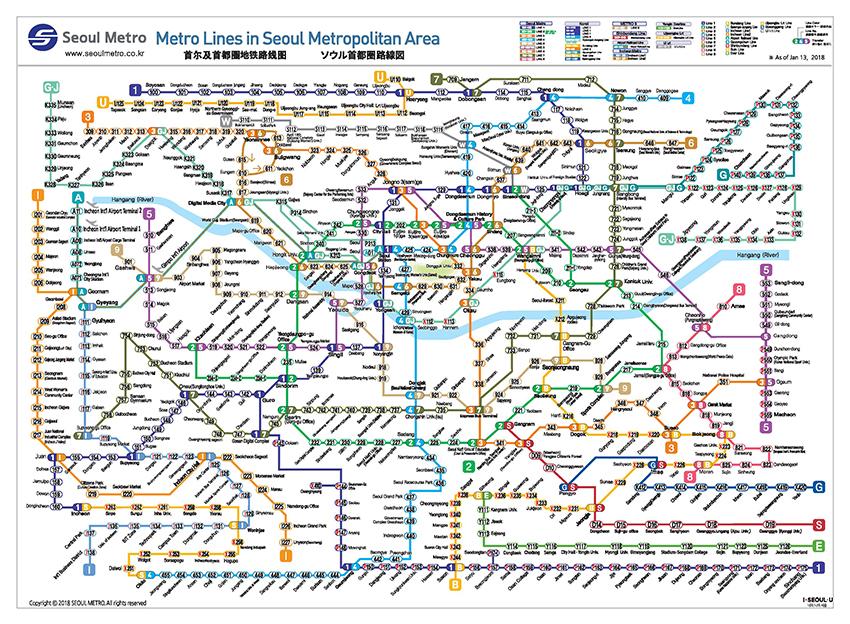 首都圈地鐵路線圖(圖片來源:首爾交通公社)