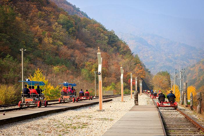 Passing through autumn scenery on Jeongseon Railbike