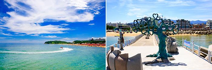 На фото) Пляж Сокчхо (слева) / Скульптуры на пляже Сокчхо (справа)