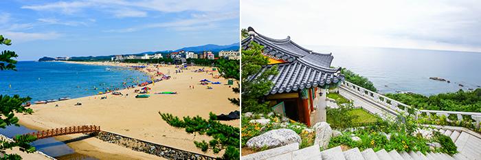 На фото) Пляж Наксан (слева) / Буддийский храм Наксанса (справа)