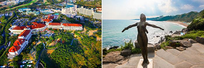 На фото) Туристический курорт Чунмун (слева) / Пляж Чунмун (справа)