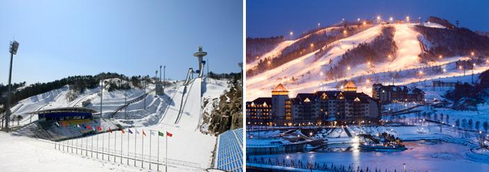Alpensia渡假村的跳台與滑雪場全景