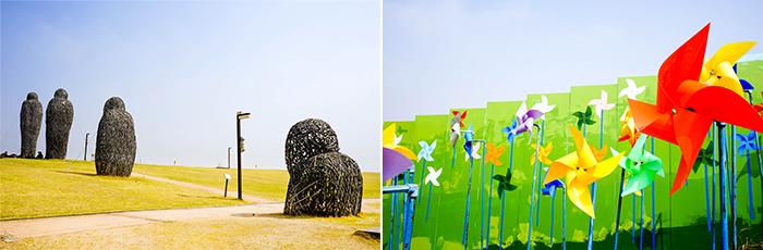 圖片) 臨津江世界和平公園(左)、風之丘(右)