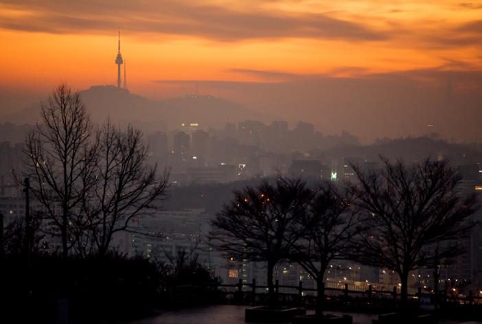 ハヌル公園からの日の出の眺め