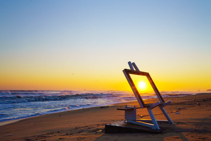 Sonnenaufgang am Strand Gyeongpo