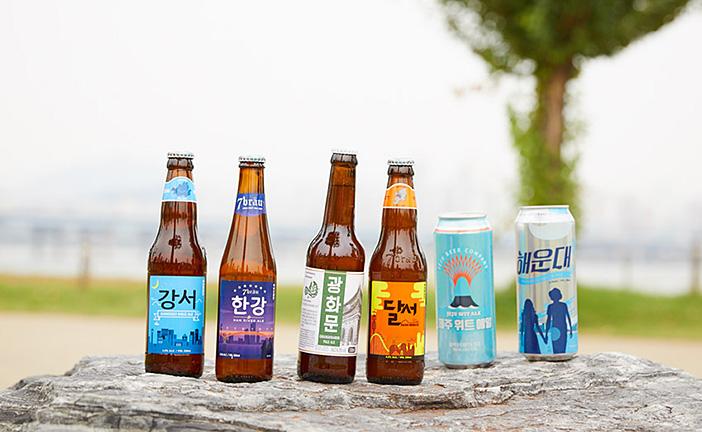 韓国各地の地名がついたクラフトビール(左から「江西」「漢江」「光化門」「達西」「済州」「海雲台」の各銘柄)