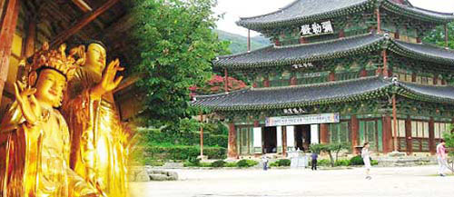 On the left is a gold Buddhist image is a Geumsan-sa Temple on the right side of the photo and the photo.