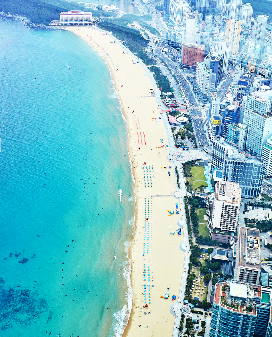 view of Haeundae Beach from Busan X the SKY observatory