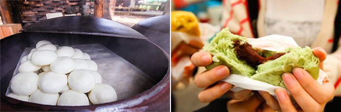 Photo: Steamy jjinbang coming right out from iron hotpot (left) / Hoppang with red bean paste (right)
