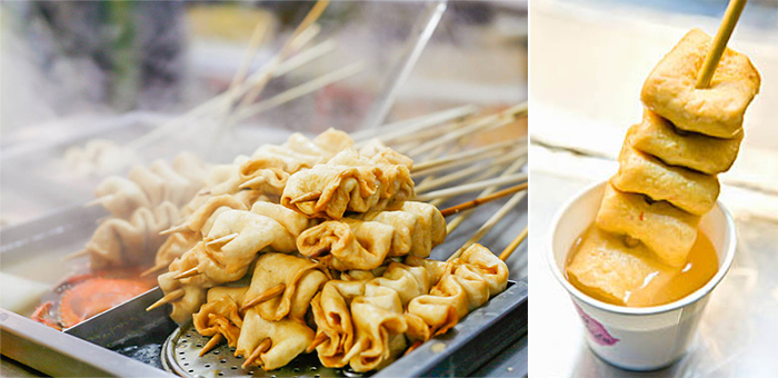 Photo: Skewered eomuk (fish cake) (left) / Refilling eomuk broth is unlimited (right)