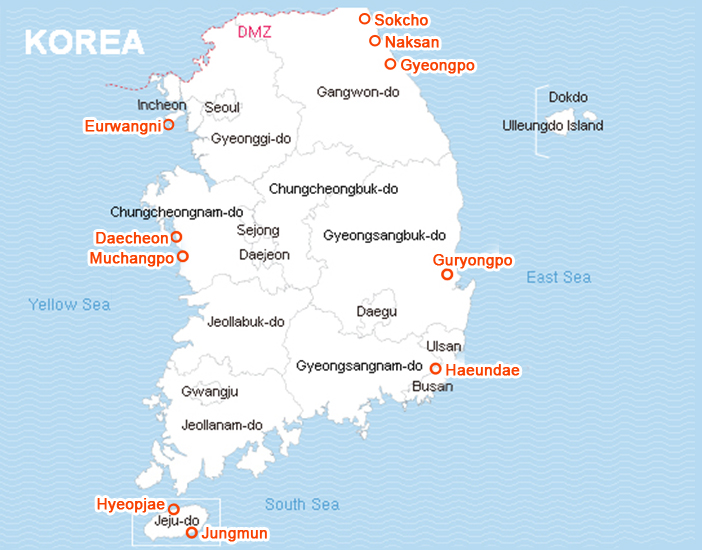 Summer Beach Destinations Official Korea Tourism Organization - Map of south korean cities