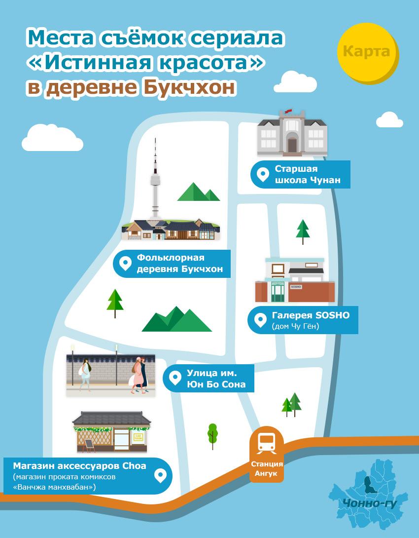 Иллюстрационная карта Фольклорной деревни Букчхон