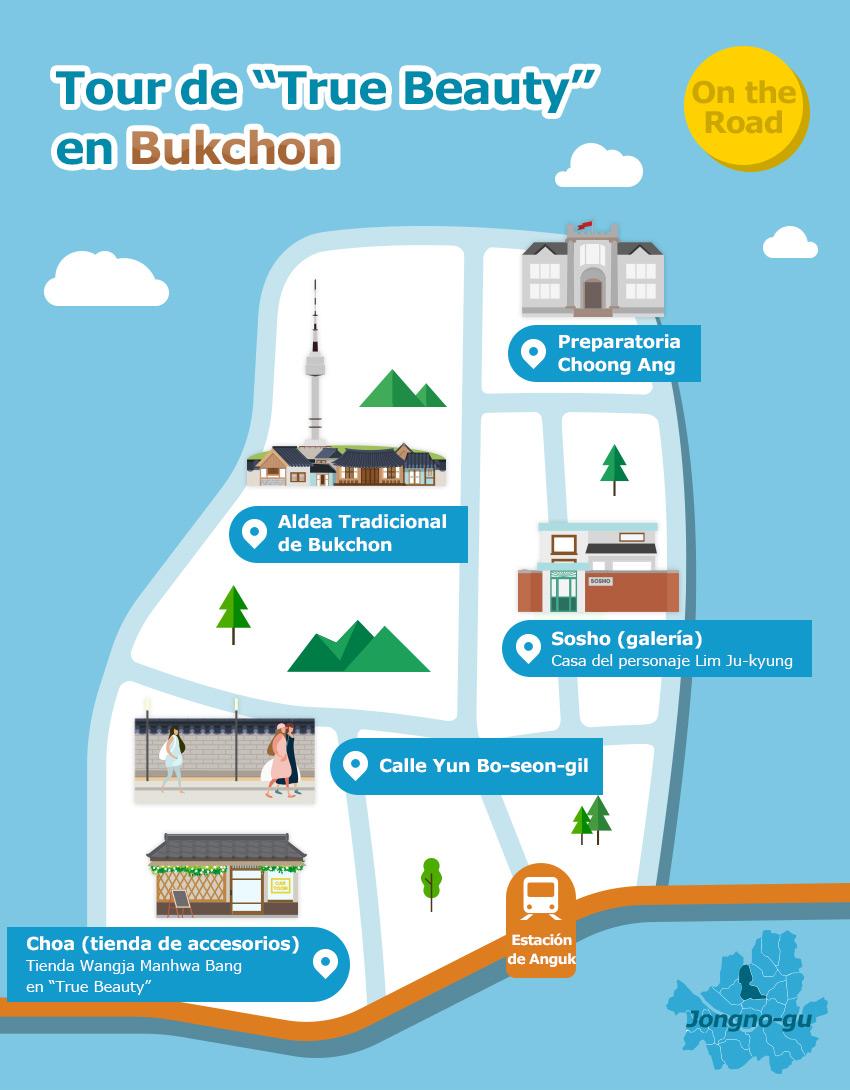 Mapa ilustrado de los alrededores de Bukchon