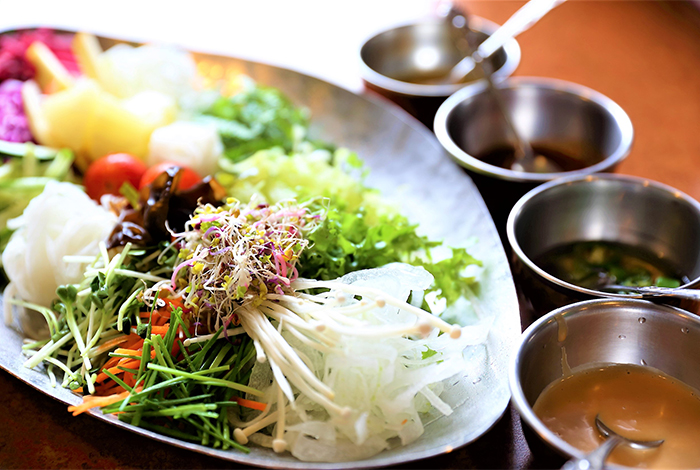 Plateful of Vietnamese fresh spring roll ingredients