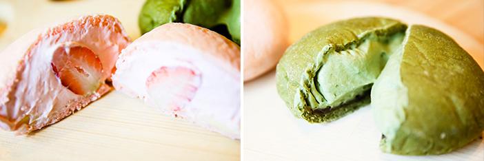 Choco Poktan (en haut) & Pain à la crème aux fraises, pain à la crème de thé vert (en bas)