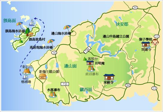 边山半岛国立公园旅游地图>