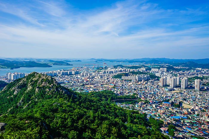 Photo: View of Mokpo from Ildeungbong Peak on Yudalsan Mountain