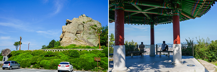 Photo: Nojeokbong Peak (left) / One of many rest areas on Yudalsan Mountain (right)