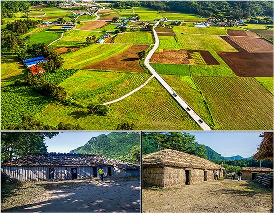 圖片)羅里盆地全景(上圖)/ 木板瓦房(左下圖)/ 木屋(右下圖)