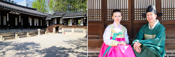 Photo: Unhyeongung Royal Residence buildings (left) / Participants posing in hanbok (right)