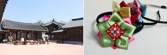 Photo: Buildings at Namsangol Hanok Village (left) / Headbands with a traditional design (right)