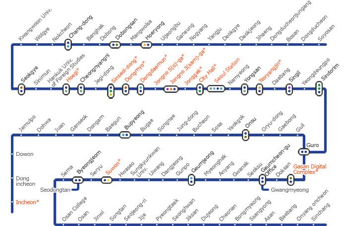 Subway Map In Seoul Korea.Official Site Of Korea Tourism Org Korea Subway Tour Line 1