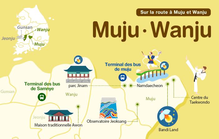 Sur la route à Muju et Wanju, map image