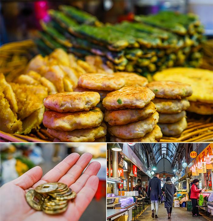 圖片) 通仁市場美食街(上圖)/只在通仁市場流通的銅錢(左下圖)以及通仁市場內部(右下圖)